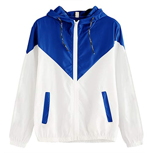 KEYIE Women Zipper Long Sleeve Coat Patchwork Thin Skinsuits Hooded Outdoor Top with Pockets Blue