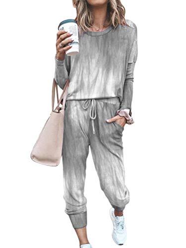 Tomwell Damen Trainingsanzug Hausanzug Kuschel Jogginganzug Sportliche Hose mit Kordelzug und Taschen 2 Stück Set Sport Yoga Outfit Grau 44