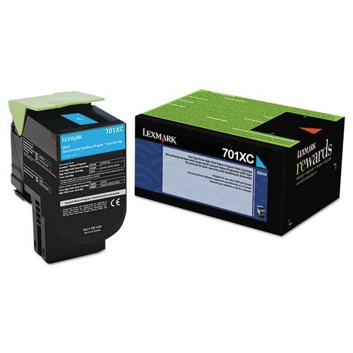 Lexmark Genuine Brand Name, OEM 70C1XC0 (Lexmark 701XC) Return Program Extra High Yield Cyan Toner Cartridge (4K YLD) Photo #5