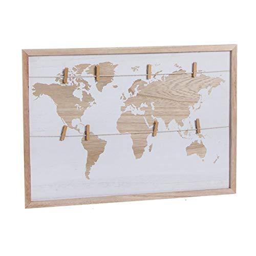 Bilderrahmen mit Klemmen zum Aufhängen von Fotos, Notizen, Reisekarten, Weltkarte, 52 cm