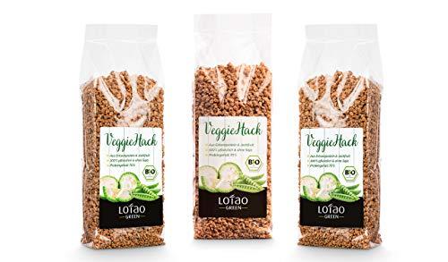 Lotao Jackfruit Veggie-Hack Bio (3x 100 g) - Vegane Variante zu Hackfleisch - nachhaltig, vegan & hochwertig.