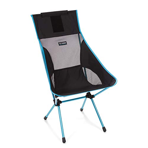 Helinox Sunset Chair Lightweight, High-Back, Compact, Collapsible Camping Chair, Black/Blue