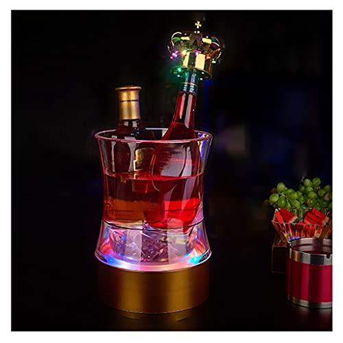hkwshop Secchiello del Ghiaccio Bar Luminoso Benna di Ghiaccio Isolamento Secchio Champagne Secchio in plastica Benna di Birra KTV Bar Small Waist Ice Secchiello Colorato Luci Colorate Portaghiaccio
