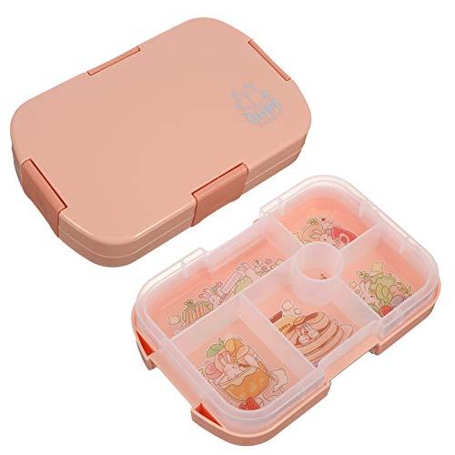 Heyu-Lotus Lunchbox Kinder Bento Box Brotdose mit Fächern, Robust und Auslaufsicher Snackbox kinder Brotzeitbox Jausenbox für Kindergarten Schule Picknick und Reisen(Rosa)
