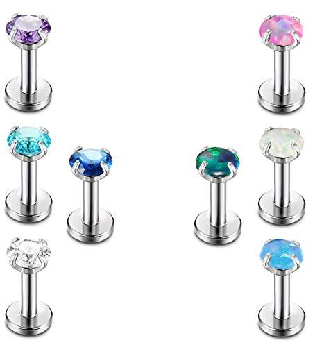 FIBO STEEL 16g Stainless Steel CZ Opal Tragus Earrings for Women Girls Cartilage Helix Lip Monroe Daith Piercing Body Jewelry (E: 6mm bar 3mm top)