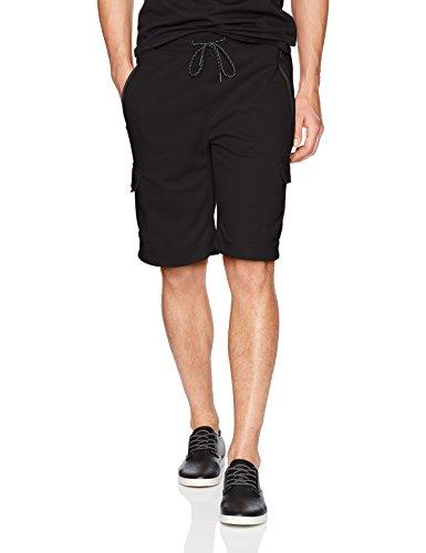 Southpole Men's Jogger Shorts, Black(Tech Fleece Cargo), Large