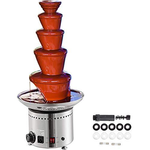 VEVOR 220V 50-60Hz Fontaine à Chocolat Professionnelle Fondue Chocolat Electrique de 5 Etages Parfait pour Une Utilisation en Intérieur