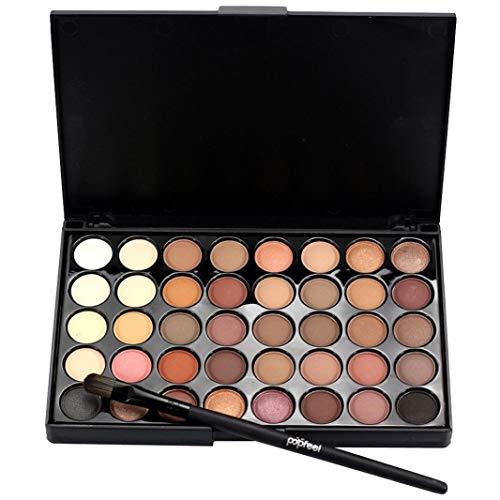 40 Colore Palette Ombretto Kit, Opaco Ombretto Polvere Colori in Shimmer Glitter Ombretto Pennello Set, Viso Labbra Arte Trucco Strumenti per Festa (B) - A, one size