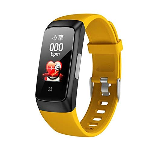 LXF JIAJU Smart Sport Watch Presión Arterial Tasa del Corazón Ejercicio del Sueño Temperatura Smart Pedómetro Bluetooth Body Monitoring Pulsera (Color : Yellow)