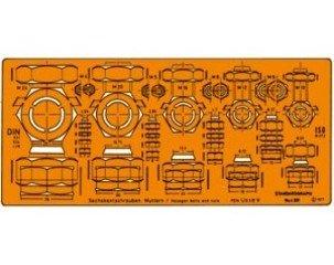 Standardgraph ST4321 - Schablone für Sechskantschrauben und Muttern M4-M24