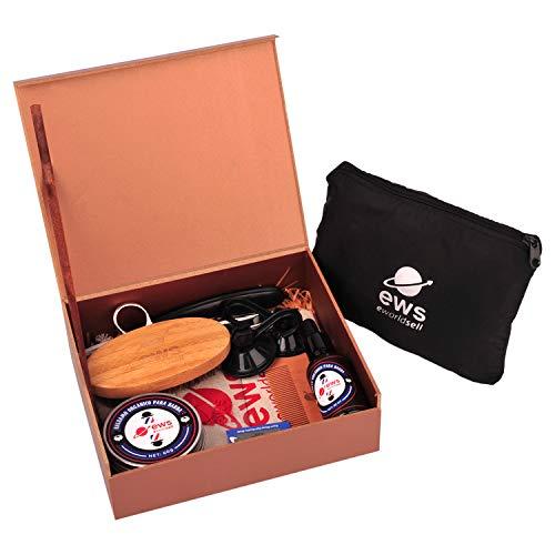 Kit de cuidado profesional para barba y bigote: aceite hidratante, cera natural, cepillo, peine de madera, tijeras, navaja y perfilador de afeitado - Set de productos y accesorios para barbero