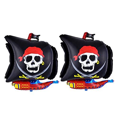 Yeahibaby Globo con Forma de Barco Pirata | 2pcs, Kit de decoración para Halloween (Negro)