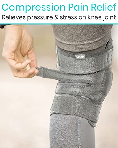 Vive Hinged Knee Brace - Open Patella Support Wrap for Women, Men - Compression for ACL, MCL, Torn Meniscus Ligament and Tendonitis - for Running, Athletic Tear and Arthritis Joint (Gray)