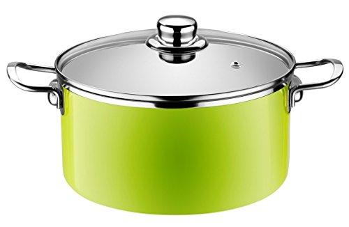 Monix Lima - Cacerola alta 20 cm de acero esmaltado verde con antiadherente Teflon® Classic.