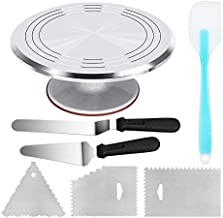 Aluminium Alloy Revolving Cake Stand 12 Inch Cake Turntable with 12.7'' Angled Icing Spatula, 3 Comb Icing Smoother, Silic...