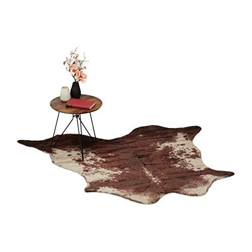 Relaxdays, braun Kunstfell Teppich, Rustikaler Kuhfell Optik, Fellimitat Teppichläufer, Vorleger 150x125 cm, 150 x 125 cm