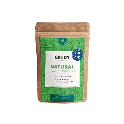 Griidy Natural, Geröstete Grillen zum pur Essen oder Verfeinern von Müsli, Smoothie oder Salat, 22 g (ca. 150 Stück)