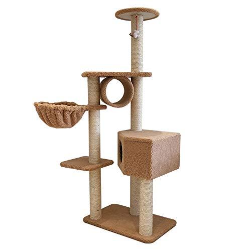 Liergou Kratzbaum Kratzbaum Kletterturm Eingerichtete Wohnung Turm Thront Tisch Spielzeug Verkratzen Katze Haustier Hauskatze Hängematte Zu Spielen (Color : Beige, Size : As pictiure)