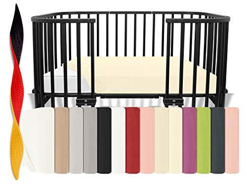 Feinbiber-Spannbetttuch für Kinderbetten - aus 100{e749d8ac5cb5ff1f616955d6b65d4ce6b19a06aa90343bd15a8b89fd4ae9fd23} Baumwolle - Made in Germany - erhältlich in 8 Farben, 70 x 140 cm, Natur