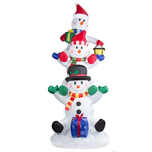 CCLIFE Led Schneemann Beleuchtet Aufblasbar snowman outdoor Außenbereich Schneemänner Weihnachtsbeleuchtung weihnachtsdeko Weihnachtsfigur, Farbe:White010-240cm
