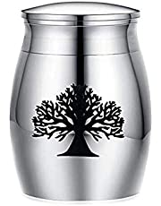 Mini urnas de cremación de 40 mm x 30 mm, pequeña caja conmemorativa decorativa de acero inoxidable, mini urna funeraria para almacenamiento de cenizas de mascotas humanas