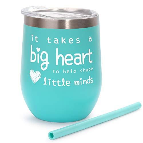 Teacher Appreciation Gifts - Teacher Gifts For Women Wine Glass Tumbler - It Takes a Big Heart to Help Shape Little Minds - Best Teacher Gifts from Student - Mint, 12 oz