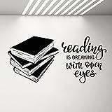 Calcomanía de vinilo para pared, diseño de libros inspiradores, texto en inglés 'Libros', con palabras motivacionales...