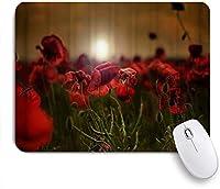 ZOMOY マウスパッド 個性的 おしゃれ 柔軟 かわいい ゴム製裏面 ゲーミングマウスパッド PC ノートパソコン オフィス用 デスクマット 滑り止め 耐久性が良い おもしろいパターン (日没のケシの花ぼやけて花)