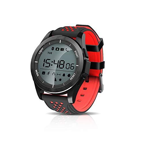 KawKaw F3 Sportuhr - Die 1,1 Zoll Smartwatch mit Silikon-Armband sowie einen integrierten Gesundheits- und Fitness-Monitor und rundem Display wurde konzipiert für aktive Menschen (Schwarz/Rot)