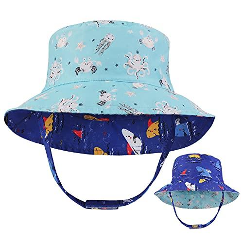 Sombrero de Cubo para niños pequeños Protección Solar Sombrero de ala Ancha de Verano para bebés con Correa de Barbilla UPF50 Gorra de tiburón de Doble Cara para bebés Niños Niñas 2-5 años