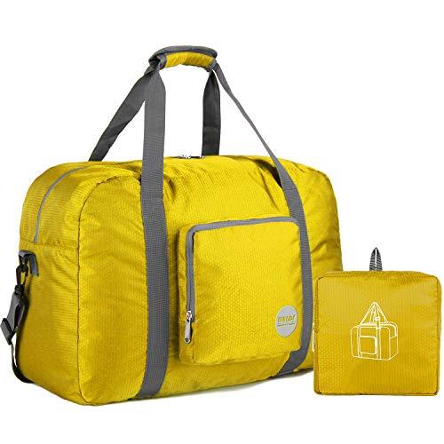Faltbare Reisetasche 20-50L Superleichte Reisetasche für Gepäck Sport Fitness Wasserdichtes Nylon von WANDF (Gelb, 40L)
