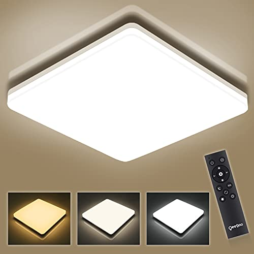 Oeegoo 13Inch Modern Dimmable LED Flush Mount Ceiling Light Fixtures with Remote Control, 36W 3600LM, Waterproof Suqare Ceiling Lamp for Bedroom, Living Room, Bathroom, Kitchen, 3000K-6500K Adjustable