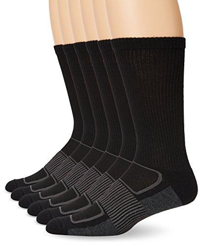 Fruit of the Loom Men's Sport 6 Pack Half Cushion Crew Sock, Black, Medium