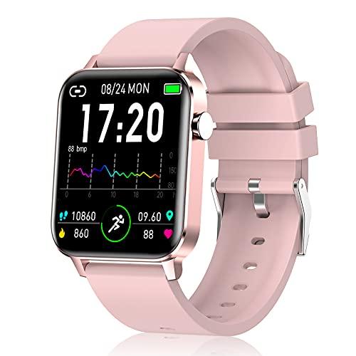 Judneer Smartwatch Mujer, 1.4   Reloj Inteligente Rosa IP68 Impermeable, Pulsera Pantalla Táctil Completa con Monitor Sueño Contador de Caloría Pulsóm