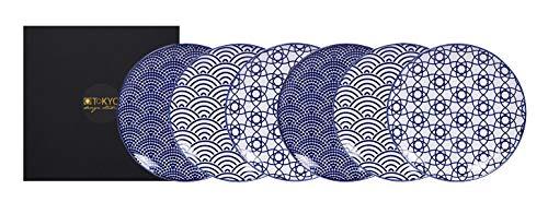 TOKYO design studio Nippon Blue 6-er Teller-Set blau-weiß, Ø 16 cm, ca. 2 cm hoch, asiatisches Porzellan, Japanisches Design mit geometrischen Mustern, inkl. Geschenk-Verpackung