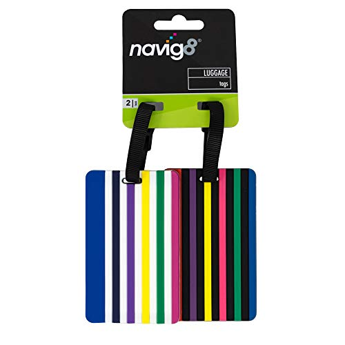 navig8 Luggage Tags for Travel — Baggage Tag ID Labels to Prevent Lost Luggage (Twin Pack, Multicoloured)