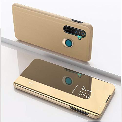 SWMGO® Spiegel Überzug Flip Hülle für Oppo Realme 5 Pro (Gold)