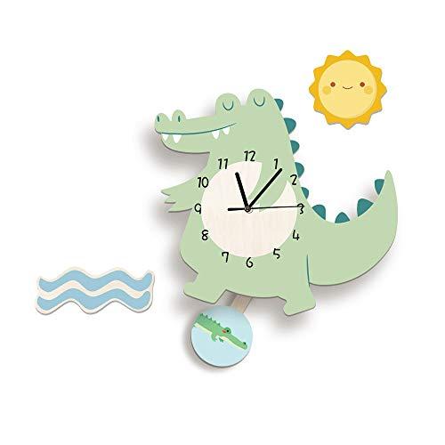 Martin Kench Cartoon 3D Tier Motiv Kinder Wanduhr, Uhr ohne Tickgeräusche, Cute Kreativität Kinderuhr Dekoriertes Kinderzimmer Wohnzimmer (Krokodil)