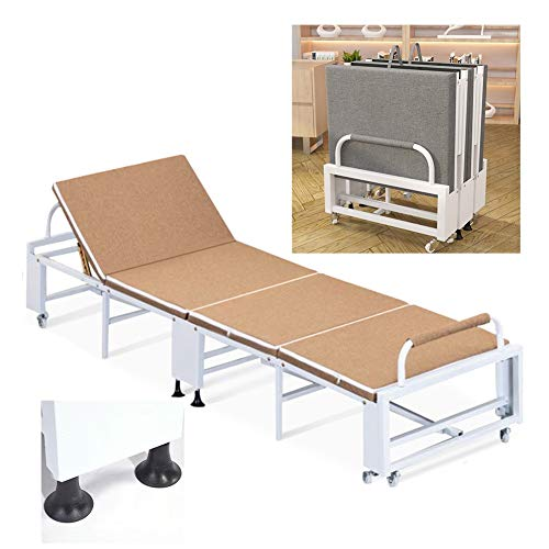 Lowest Prices! GYYARSX-Rollaway Guest Bed Folding Bed High-Density Sponge Metal Bed Frame Five-Speed...