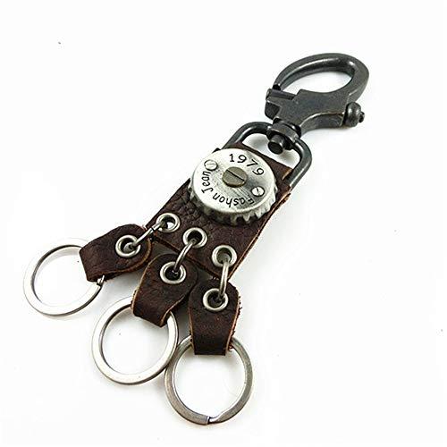 Lwieui Schlüsselanhänger Persönlichkeit Hip Hop Schlüsselanhänger Kreative Kronkorken Key Anhänger Tide Male Schlüsselanhänger Tasche Kleine Anhänger Schlüsselanhänger Schlüsselringe (Farbe : Braun)