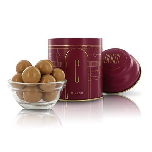 Dragee, Nocciole Ricoperte di Cioccolato Bianco al Caramello, Barattolo di Latta da 80 Grammi