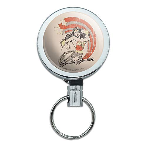 Wonder Woman Deflecting with Bracelets Heavy Duty Metal Retractable Reel ID Badge Key Card Tag Holder with Belt Clip