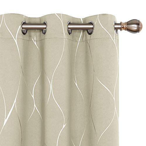 Deconovo Silver Wave Foil Print Blackout Curtains, Grommet Room Darkening Curtain, Noise Reducing Window Draperies for Living Room (42W x 96L Inch, Set of 2 Panels, Light Beige)