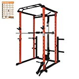 RitFit Power Cage with LAT Pull Down and 360 Landmine, 1000LB Capacity Power Rack Full Home Gym for Weightlifting, Come with J-Cups,Dip Bars and Other Attachments