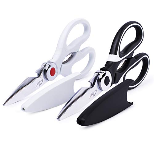 Kitchen Shears By Clear Style, Multipurpose Stainless Scissors-Steel Cooking Shears, Dishwasher Safe, Perfect For Preparing Beef, Chicken, Vegetables, Fish, and More, Black and White (2 Pack)