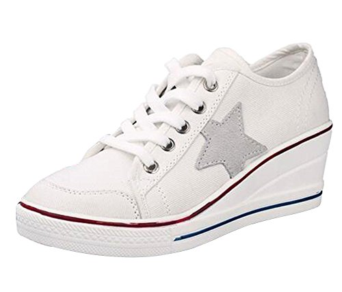 Wealsex Mujer Lona De La Cuna De Tacon Cerrado Deporte Zapatos Cordones 6 CM Zapatos de Lona de Las cuñas (Blanco,38)