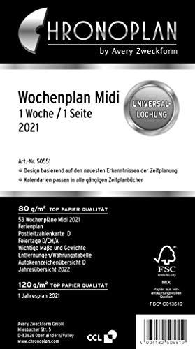 Preisvergleich Produktbild Chronoplan 50551 Kalendereinlage 2021,  Wochenplan Midi in Zeilen (96x172mm),  Ersatzkalendarium,  ideal für übersichtliche Wochenplanung,  Universallochung (1 Woche auf 1 Seite),  weiß