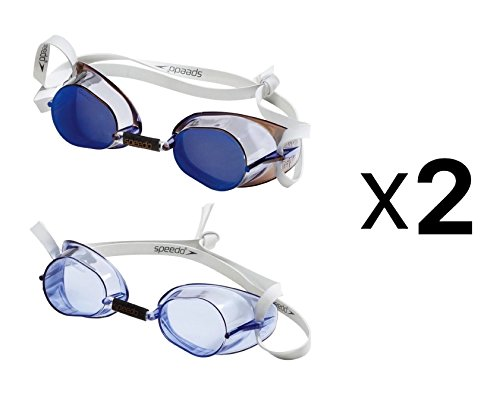 Speedo natación suecas 2-Pack rendimiento gafas de natación–Azul (Pack de 2)