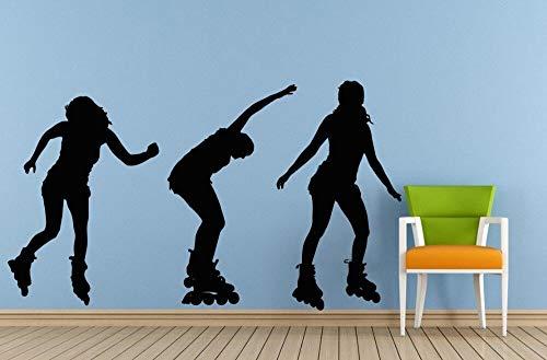 Crjzty Outdoor Lustige Sport Das Mädchen Rollerblading SkateWandtattoos Home Wohnzimmer Dekoration Tapete Mädchen Rollerblades 42x74cm
