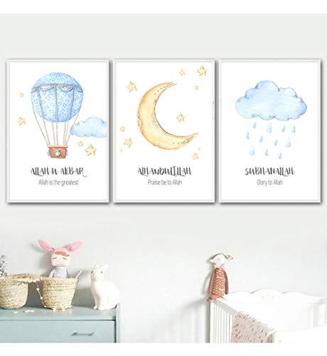 YDGG Allah islamitische muurkunst afbeeldingen heteluchtballon wolken kinderkamer decoratie canvas schilderij druk poster afbeelding geschenk babykamer home-50x70cmx3 stuks Geen lijst